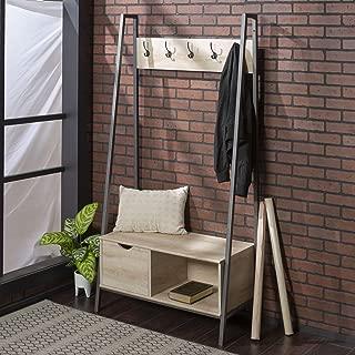 WE Furniture Mid Century Modern Entryway Bench Hall Tree Storage Shelf Coat Rack, 72 Inch, White Oak