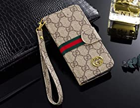 Phone Case for Galaxy S8, Vintage Luxury Designer Monogram Fashion Style Flip Wallet Case Card Holder, Folding Stand Protective Cover for Galaxy S8