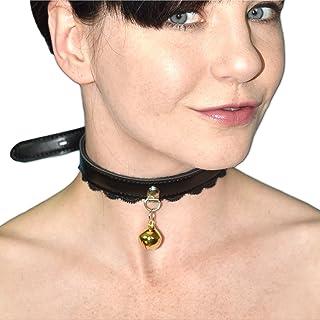 Petplay Halsband mit Glöckchen und Spitze abschließbar (gold Glöckchen)