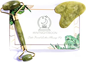 Anti-aging Jade Roller for skincare and Gua Sha stone set tool by Mintnightmoon   Face massager that helps skin detoxify and beautifies skin complexion with healing properties