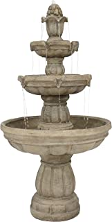 Sunnydaze Outdoor Water Fountain - Large 3-Tiered Fountain & Backyard Waterfall Feature for The Patio, Lawn, Garden - 48 Inch Tall