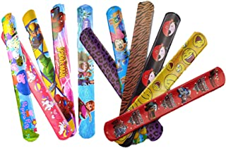 Birthday Popper Assorted Theme Slap Bracelet Bands (Pack of 12) Birthday Return Gifts for Boys and Girls of All Age Group