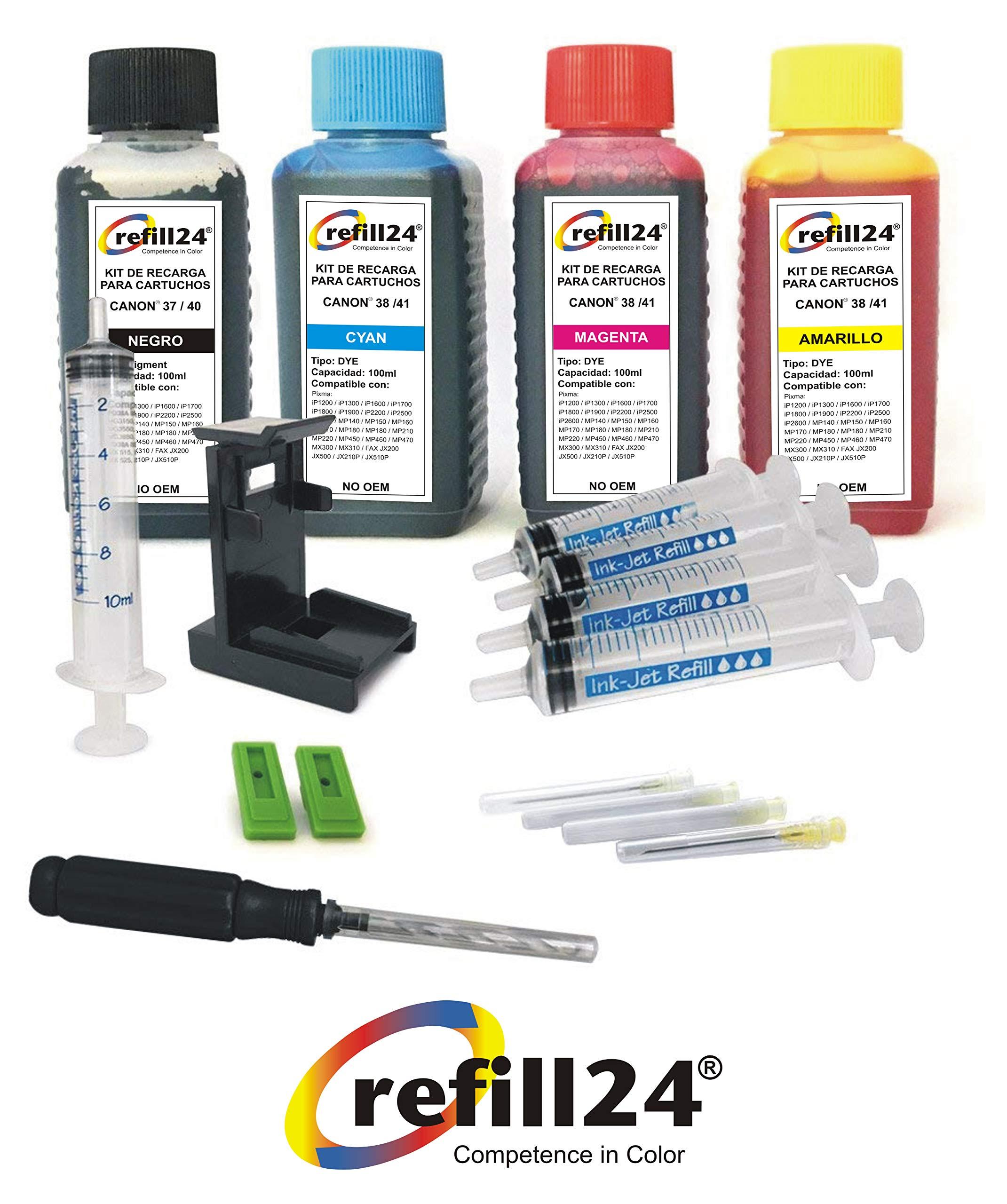 Kit de Recarga para Cartuchos de Tinta Canon 40, 41 Negro y Color, Incluye Clip y Accesorios + 400 ML Tinta: Amazon.es: Electrónica