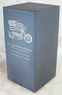 Personalized Engraved Motorcycle Cremation Urn for Human Ashes - Made in America - Handcrafted in The USA by Amaranthine Urns, Adult Funeral Urn - Eaton DL-up to 200 lbs Living Weight - (Slate Grey)