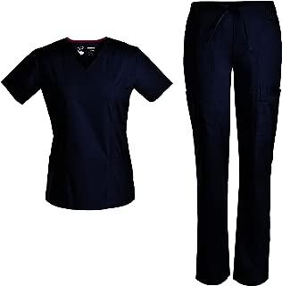Women Nurse Stretch Scrubs Set Medical Uniforms Nursing Mock Wrap Nursing Scrubs Top Drawstring Cargo Pants TCS3103