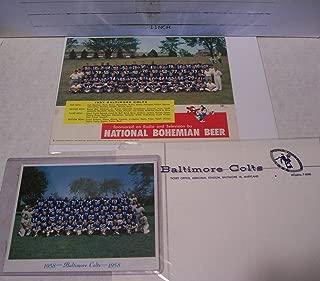 1958 BALTIMORE COLTS WORLD CHAMPIONS TEAM PHOTO CHRISTMAS CARD +1957 TEAM PHOTO