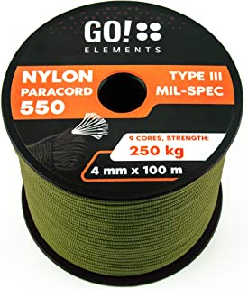 comprar comparacion GO!elements 100m Paracord de Nylon a Prueba de desgarros - 4mm Paracord 550 Typo III Cuerda - Adecuado como Cuerda Yute & ...