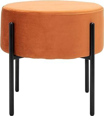 Safavieh Home Lisbon Glam Velvet Round Ottoman, Sienna Orange-Brown/Black