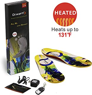 Dr.warm Heated Insoles Rechargeable Battery Heated Insoles with Arch Support Wireless Remote Control Foot Warmer for Hunting Fishing Hiking