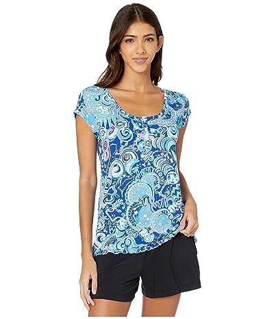 Lilly Pulitzer Ruffle PJ Short Sleeve Knit Top (Lapis Lazuli Cosmic Kismet) Women