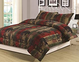 HowPlumb Rustic Southwest King Comforter 3 Piece Bedding Set Bear Cabin Lodge Nature Wildlife