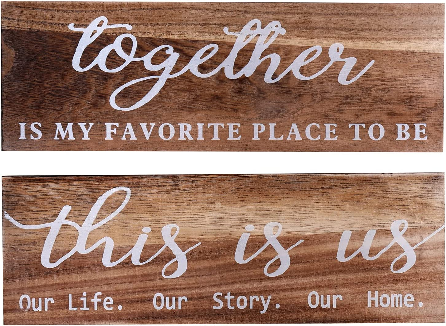 2 Pieces Wooden Wall Art Signs This Is Us Sign Wood Decoration Together Home Decor Farmhouse Wall Decor Sign for Bedroom,Living Room ,Entryway,Apartment Office Decor Brown…
