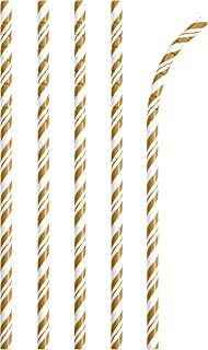 Creative Converting Striped Paper Straws, 7.75-Inch Size, Gold