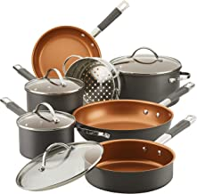 Farberware Glide Pro Hard Anodized Ceramic Nonstick Cookware Pots and Pans Set, 11 Piece, Gray