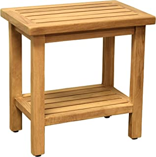 Asta Coast Solid Teak Indoor Outdoor Shower/Bath/Spa Stool Bench, Side Table, with Bottom Shelf, Fully Assembled,TB-111A