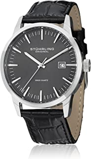 Stuhrling Original Men's Quartz Watch with Grey Dial Analogue Display and Black Leather Strap 555A.02