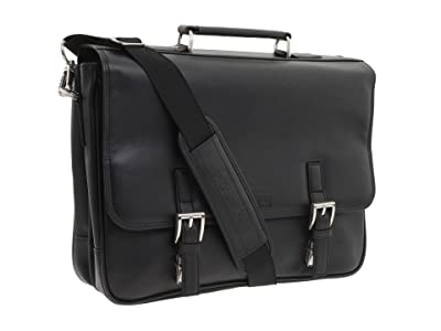 Kenneth Cole Reaction A Brief History 5 Double Gusset Flapover Portfolio (Black Nappa Lea) Briefcase Bags