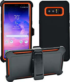 AlphaCell Cover compatible with Samsung Galaxy Note 8   Holster Case Series   Military Grade Protection with Carrying Belt Clip   Protective Drop-proof Shock-proof   Black/Orange