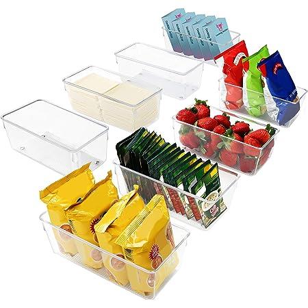 Kurtzy Bac Rangement Frigo et Placard (Lot de 8) - Boite Rangement Refrigérateur 20 cm sans BPA - Bac en Plastique Transparent pour Organiser Salles de Bains, Congélateur, Placard et Tiroir