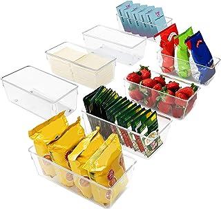 Kurtzy Bac Rangement Frigo et Placard (Lot de 8) - Boite Rangement Refrigérateur 20 cm sans BPA - Bac en Plastique Transpa...