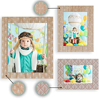 Ohana Avenue Picture Frames Set of 3-4x6, 5x7 & 8x10 - Wooden Style Table Top & Wall Mount Photo Frames Sets for Wall, Rustic Decoration Picture Frame