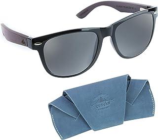 CURVAN - Gafas de Sol Polarizadas Hombre Mujer Unisex   Modelo Marley   100% Protección UV400   Lentes Espejo Antideslumbramiento   Patillas Madera Natural Ecológica