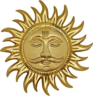 ITOS365 Brass Sun Face Wall Hanging Showpiece, Standard, Gold