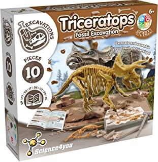 Science4you 80002266 Triceratops Fossil Escavation – Scientific Toy – Dinosaurs, 10 Pieces and Multilingual Educational Bo...