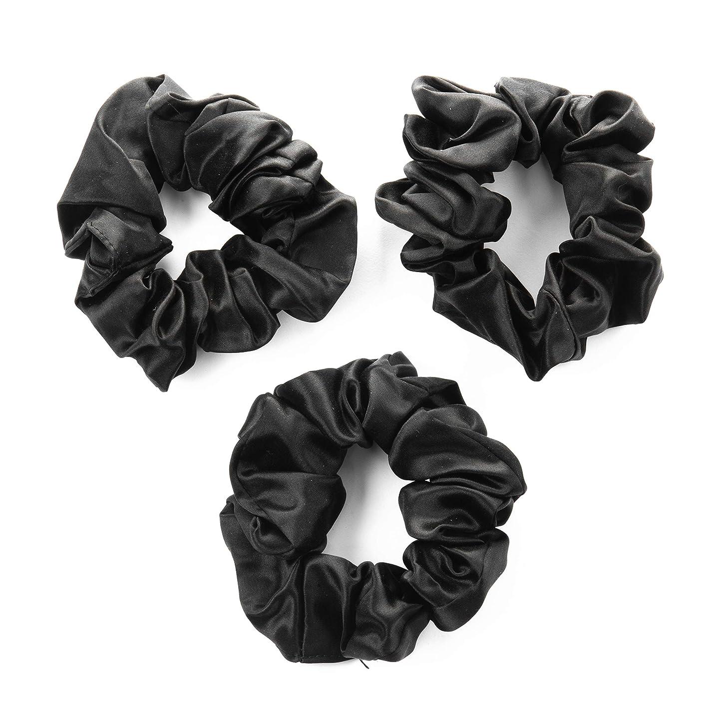 100% Premium Mulberry Silk Hair Luxe Scrunchies (Pack of 3 Black Hair Ties Per Box)