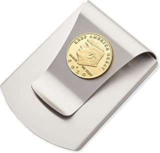 Storus Smart Money Clip, President Trump, Keep America Great, Commemorative 2020 Election Edition, Titanium Clip w/Gold Medallion Coin