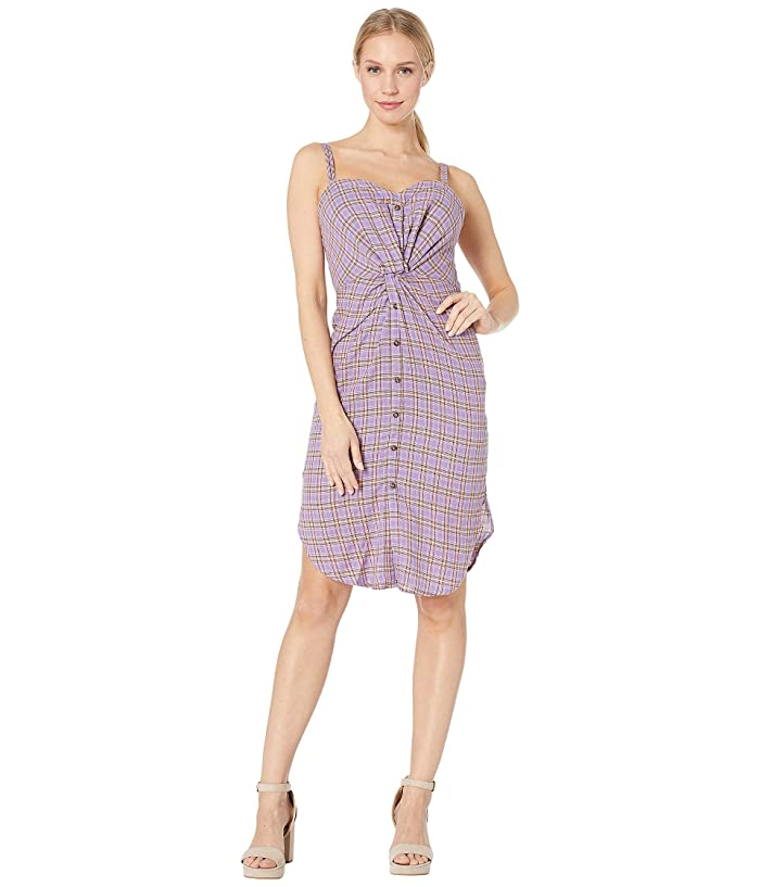 J.O.A. Checked Dress with Knot Detail (Purple Plaid) Women