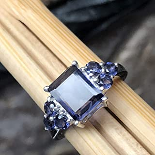 Natural 4ct Iolite 925 Solid Sterling Silver Wedding Ring Size 5.75, 6, 6.75, 7, 8, 8.75, 9, 9.25, 10