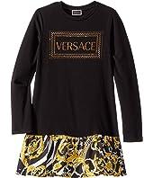 Versace Kids - Long Sleeve Dress with Logo and Barocco Skirt (Big Kids)
