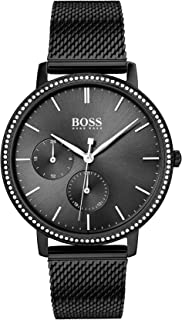 Hugo Boss Black Dial Ionic Plated Black Steel Watch For Women, 1502521