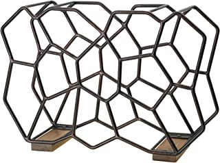 Gourmet Basics by Mikasa 5228878 Ubix 12-Bottle Metal Stackable Wine Rack with Acacia Wood Accent, Large, Antique Black