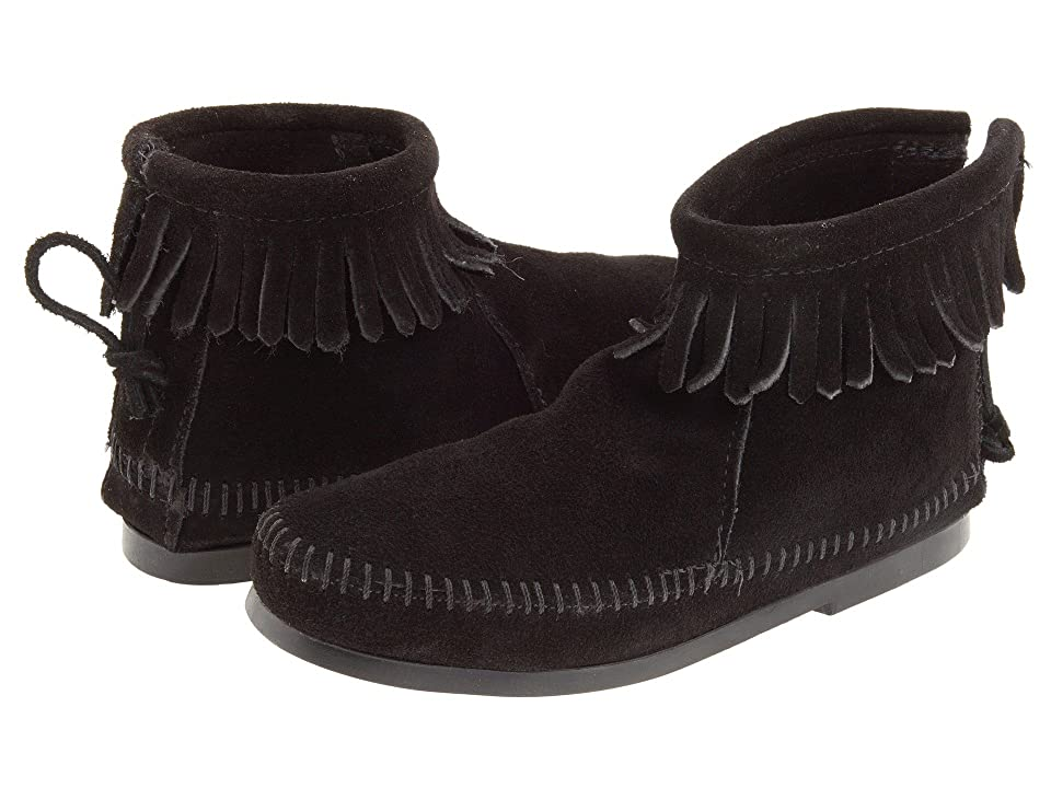 Minnetonka Kids Back Zipper Boot Hardsole (Toddler/Little Kid/Big Kid) (Black Suede) Girls Shoes