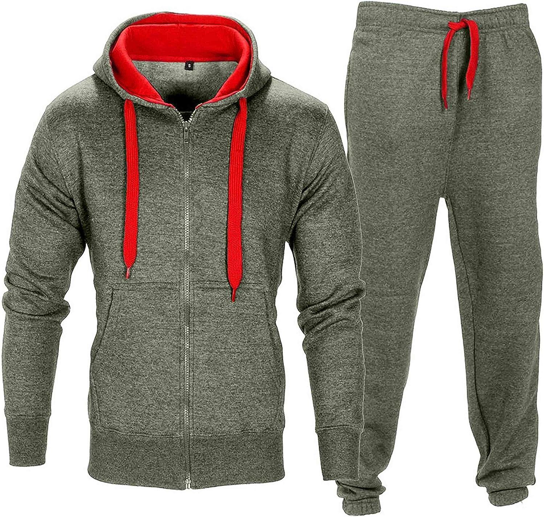 Mens Tracksuit Gym Hooded Jogging Contrast Full Top Bottoms Fleece Joggers Set