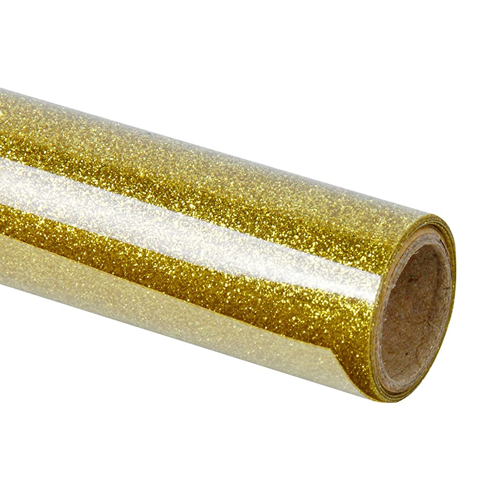 RUSPEPA Glitter Heat Transfer Vinyl -Glitter Flake Design Great for T-Shirt, Garments Canvas Bags and Other Fabrics-19.5 X 12Inch-Gold