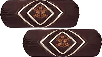 Embroidered Cotton Bolster Cover (Pack of 2, Coffee) by Rj Products