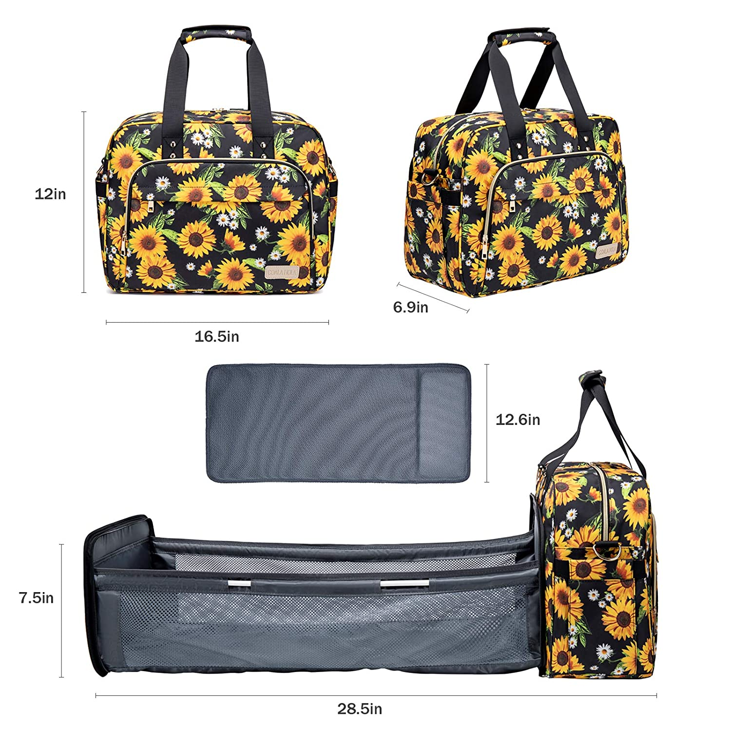 4 in 1 Diaper Bag Backpack Baby Travel Organizer Bag with Foldable Baby Bassinet Bed, Backpack Bag with Changing Station Pad, 4 Ways Carrying Portable Mommy Bag, Sunflowers