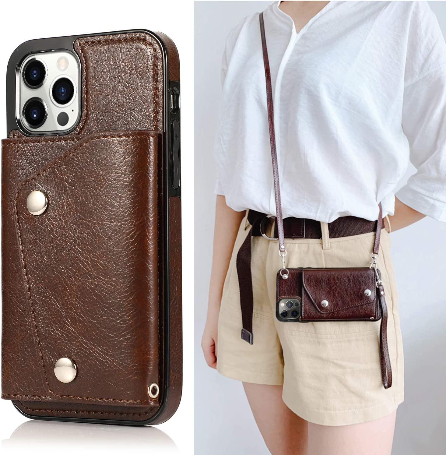 LUVI iPhone 12/iPhone 12 Pro Wallet Card Holder Case with Crossbody Neck Strap Lanyard Handbag Wrist Strap PU Leather Flip Cover with Credit Card Slot Kickstands Stand Case 6.1 inch Brown