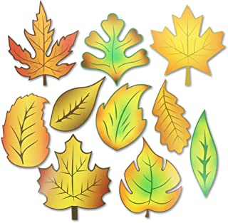 Juvale Bulletin Board Fall Leaf Cutouts (50 Count), 10 Designs