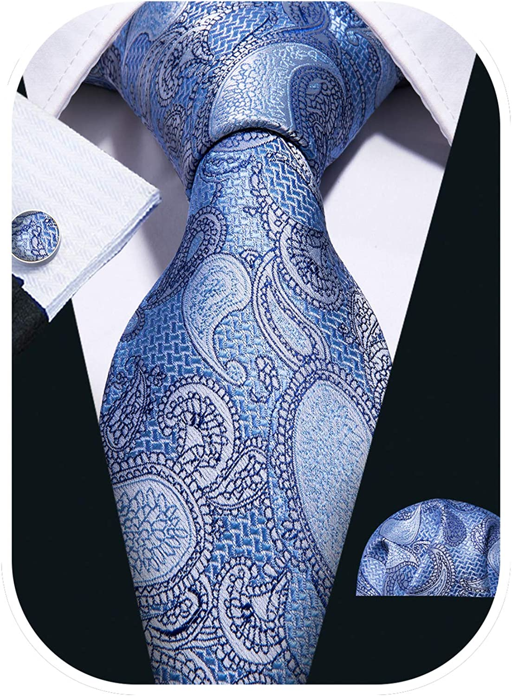Barry.Wang Paisley Tie Fashion Set Hanky Cufflinks Neckties for Men Woven Silk