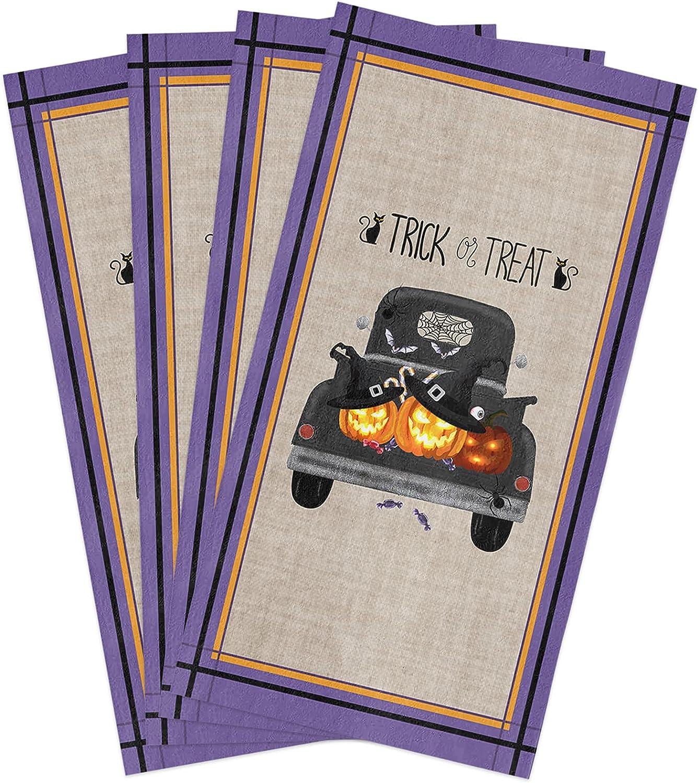 BoNuer Halloween Kitchen Ultra-Cheap Long Beach Mall Deals Towel Set of 4 with Black Truck Jack-o