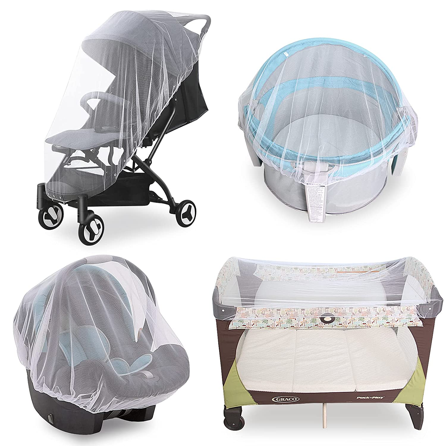 Baby Mosquito Net for Stroller, Durable Bug Net for Stroller, Bassinets, Cradles, Playards, Pack N Plays and Portable Mini Crib, Portable & Durable Baby Insect Netting