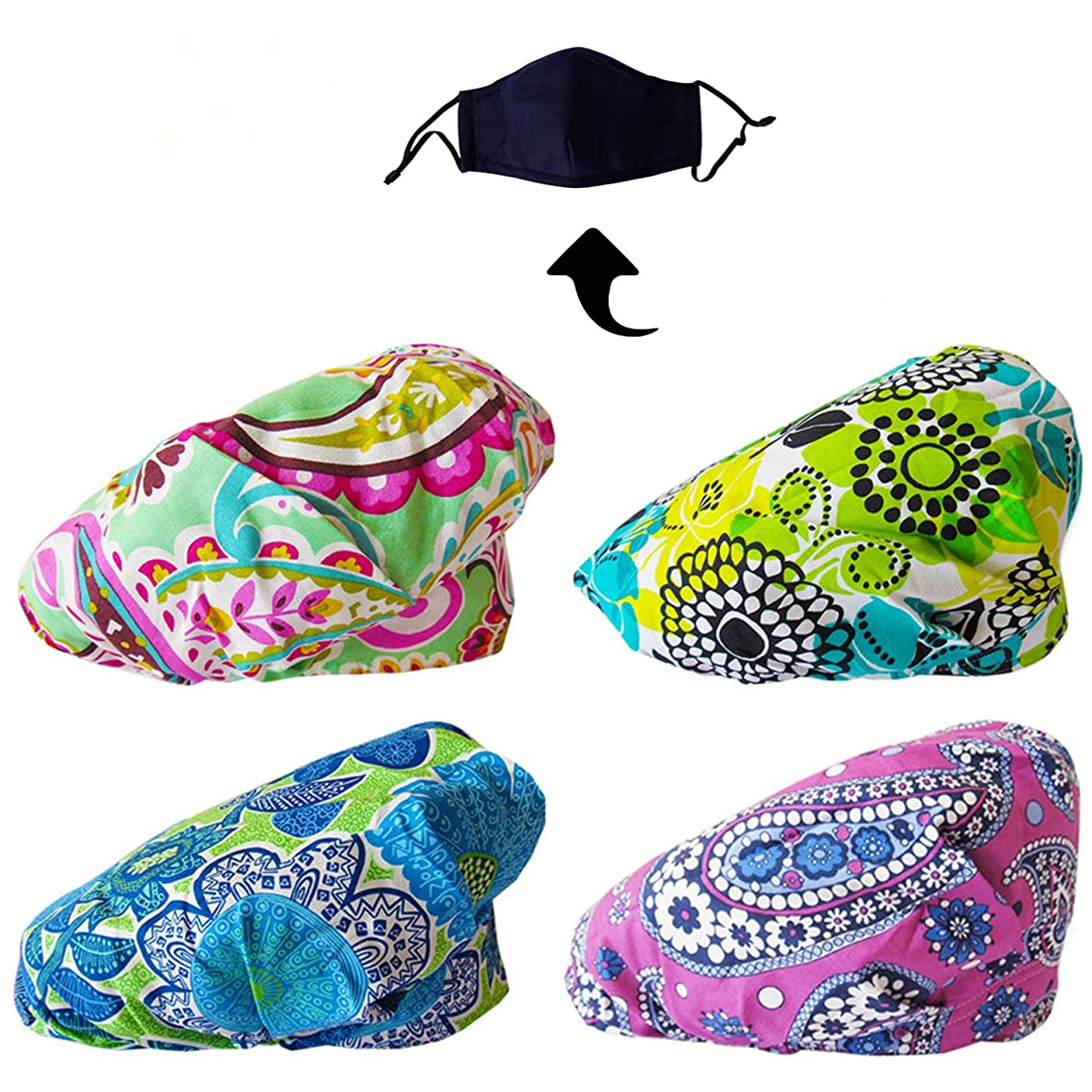 JoyRing 4 Pack Adjustable Surgical Scrub Cap Medical Doctor Bouffant Hats with Sweatband