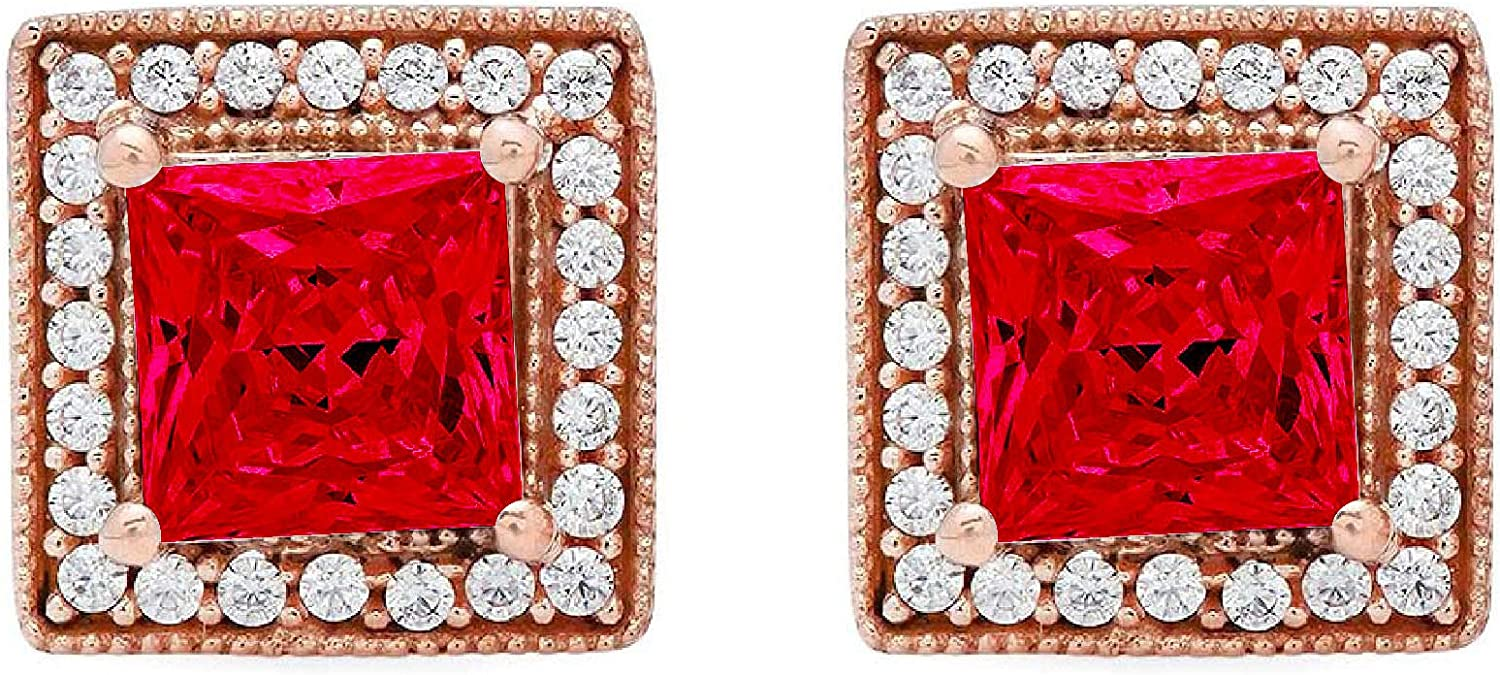 Clara Pucci 2.30 ct Brilliant Princess Round Cut Halo Solitaire VVS1 Flawless Simulated Ruby Gemstone Pair of Solitaire Stud Screw Back Earrings Solid 18K Rose Gold