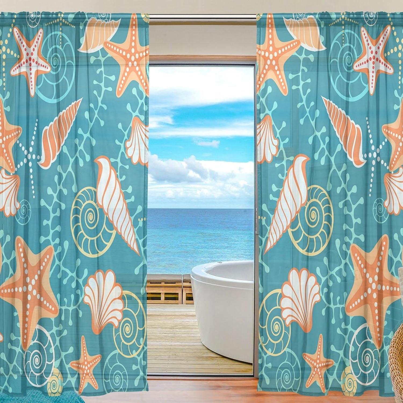 Vantaso Sheer Curtains 78 inch Long Ocean Seashells Starfish for Kids Girls Bedroom Living Room Window Decorative 2 Panels