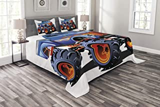Lunarable Man Cave Bedspread, Cartoon Monster Truck with Huge Tyres Off-Road Heavy Large Tractor Wheels Turbo, Decorative Quilted 3 Piece Coverlet Set with 2 Pillow Shams, Queen Size, Blue Orange