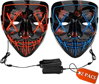 Halloween Mask LED Light up Mask (2 Pack) Scary mask for Festival Cosplay Halloween..